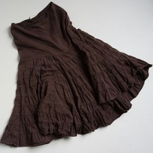 Anthropologie Odille tiered brown skirt Sz 8